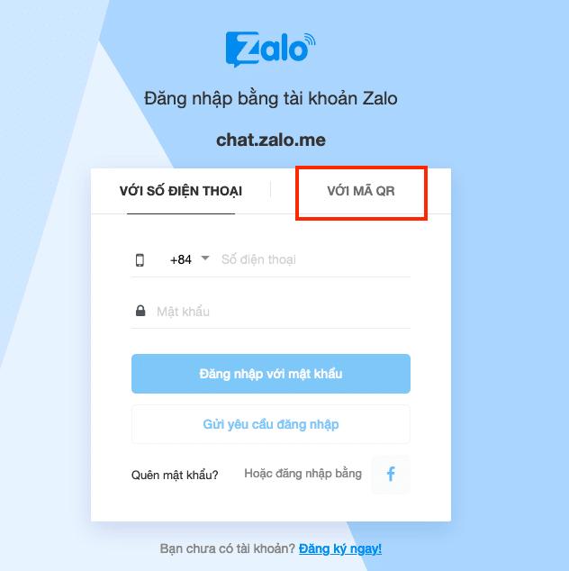 Đăng nhập bằng tài khoản Zalo