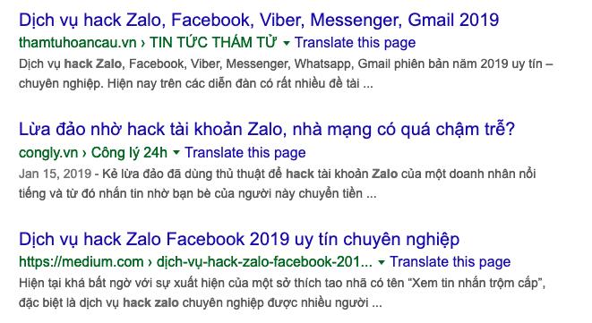 Dịch vụ hack Zalo