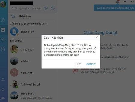 Thông báo đăng nhập Zalo trên máy tính