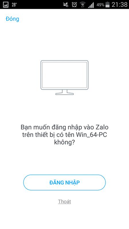 Xác nhận đăng nhập Zalo trên máy tính bằng điện thoại