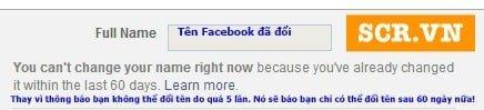 Báo đổi tên FB thành công