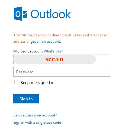 Báo tài khoản email không tồn tại