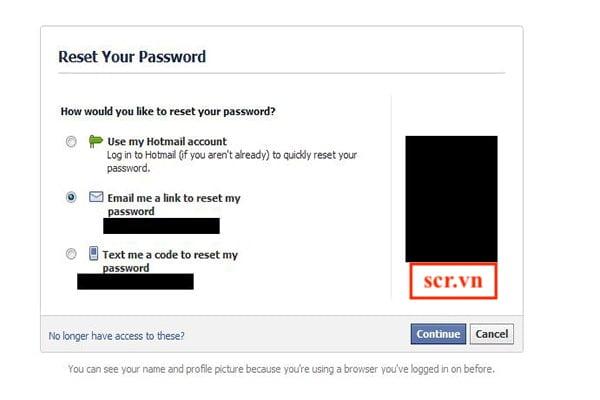 Gửi yêu cầu đặt lại mật khẩu Facebook