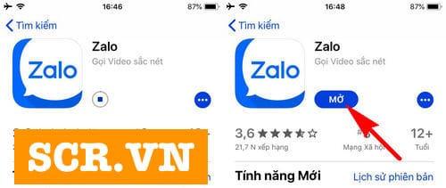 Mở Zalo trên App store