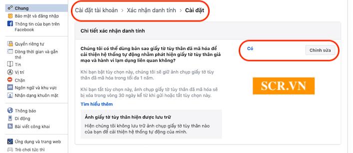 Cài đặt xác nhận danh tính facebook
