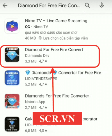 Chọn Diamond For Free Fire Converter