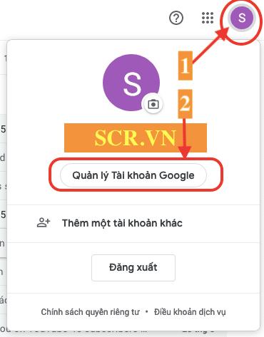 Chọn Quản Lý Tài Khoản Google
