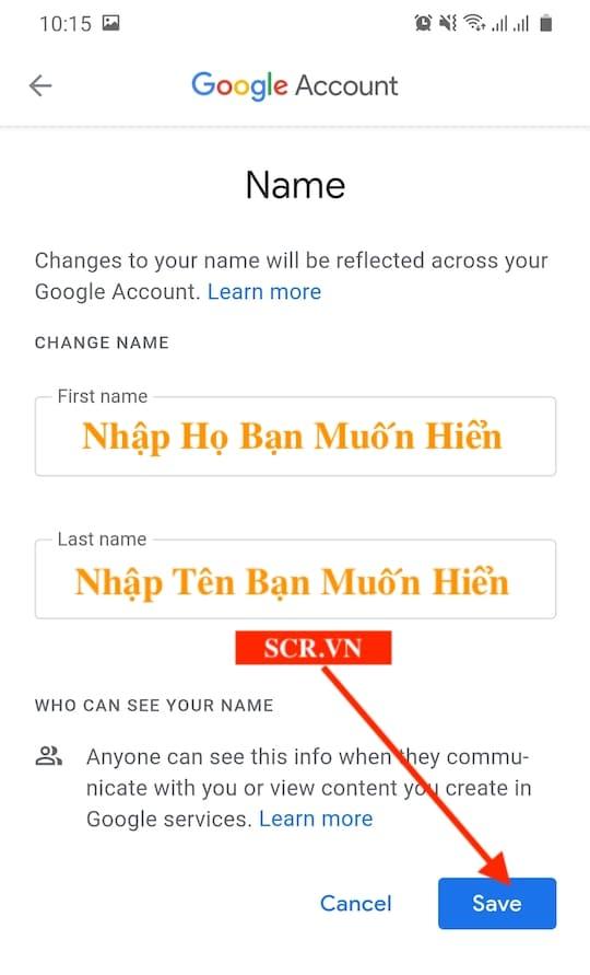 Chọn thay đổi tên gmail mới trên điện thoại