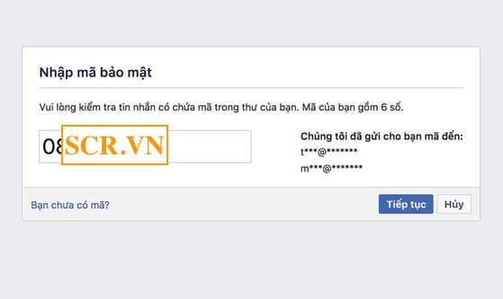 Nhập mã bảo mật FB trên máy tính
