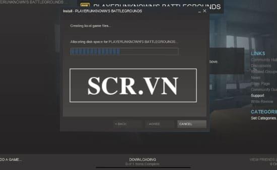 Đợi Steam cài đặt