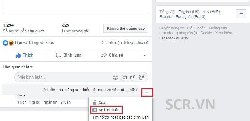 Ẩn Bình Luận Facebook Bằng Cách Thủ Công