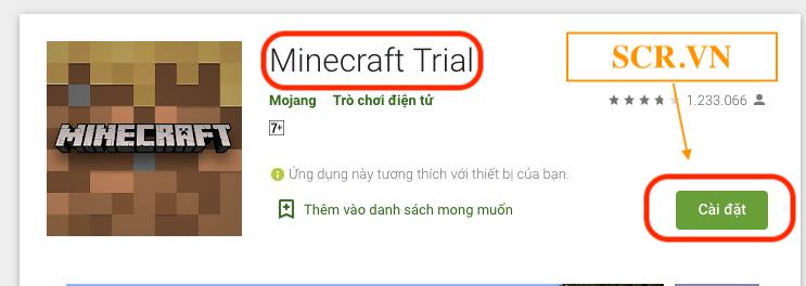 Cài đặt Minecraft Trial