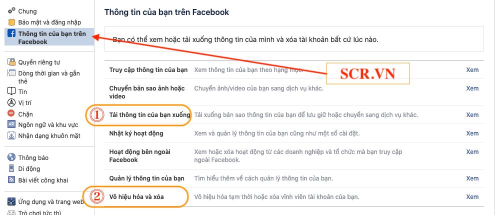 Thông tin của bạn trên Facebook