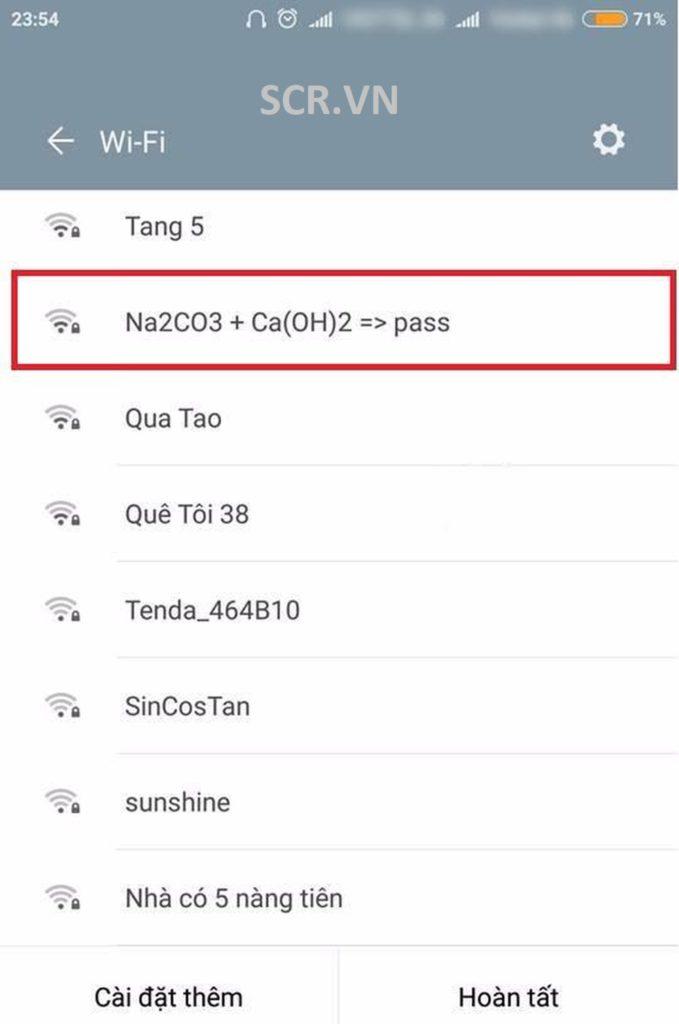 Tên Wifi Hoá Học