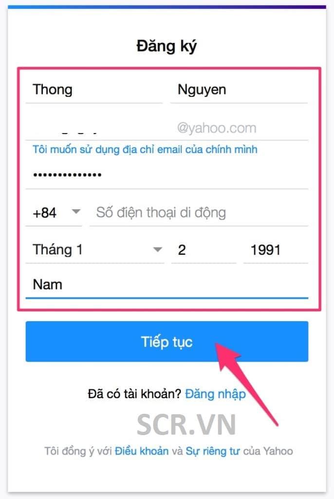 tạo tài khoản email yahoo