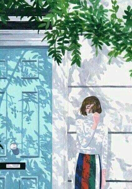 ảnh nền cô gái đừng ngoài cửa