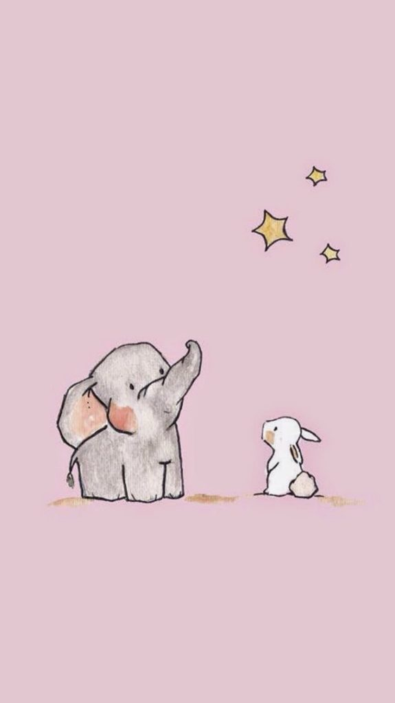 Hình nền cặp bạn thân thỏ và voi