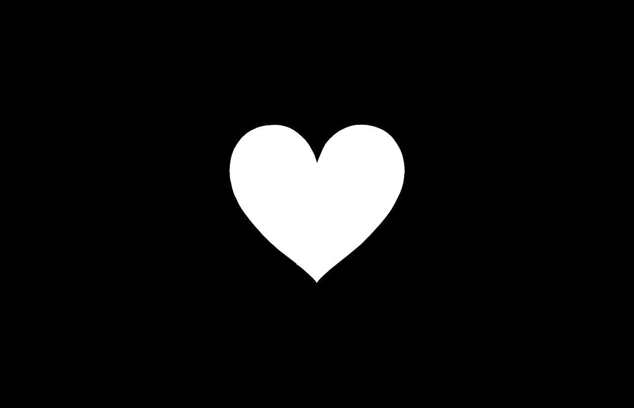 Trái tim trắng trên nền đen