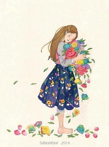 hình nền cô gái ôm hoa