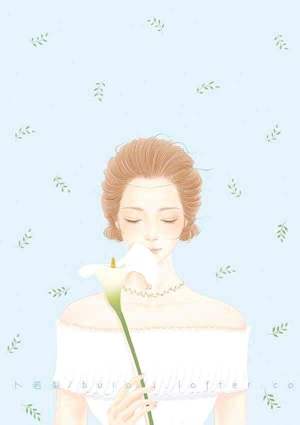hình nền cô gái cầm hoa