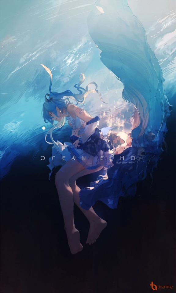 background cô gái giữa đại dương