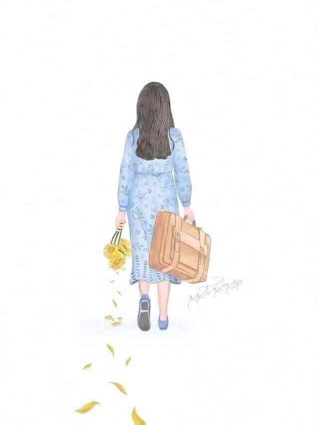 hình nền cô gái quay lưng bước đi