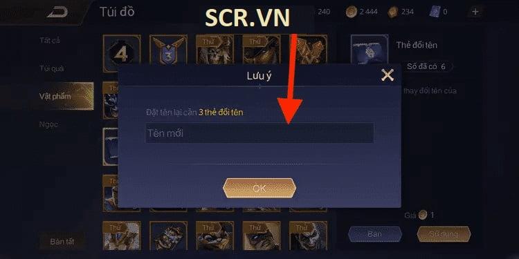 Đặt tên mới cho tài khoản Liên Quân Mobile của bạn, mỗi lần sẽ tốn số lượng Thẻ đổi tên khác nhau