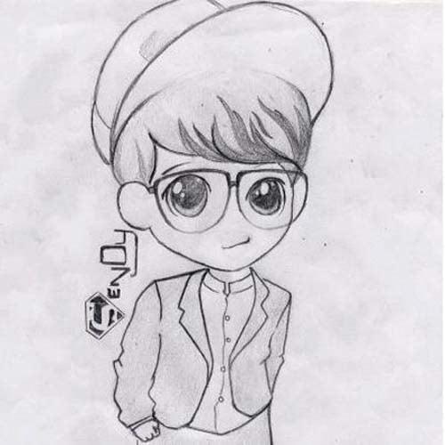 Hình vẽ cậu bé dễ thương