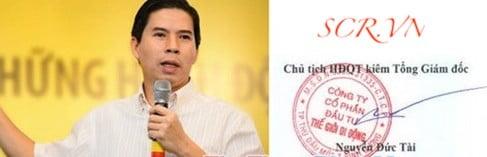 Mẫu chữ ký tay theo tên Ông Nguyễn Đức Tài - Chủ tịch HĐQT & Tổng Giám đốc CTCP Đầu Tư Thế giới di động