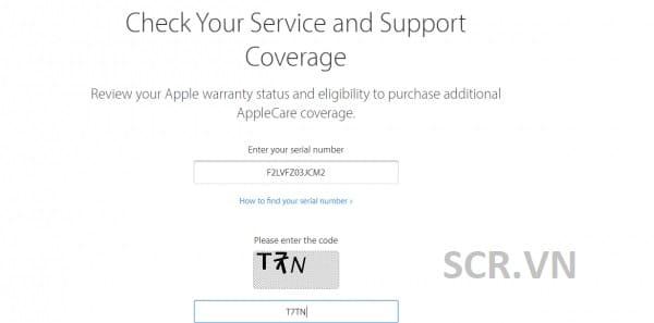 Tiến hành nhập mã vào trang web chính thống của Apple