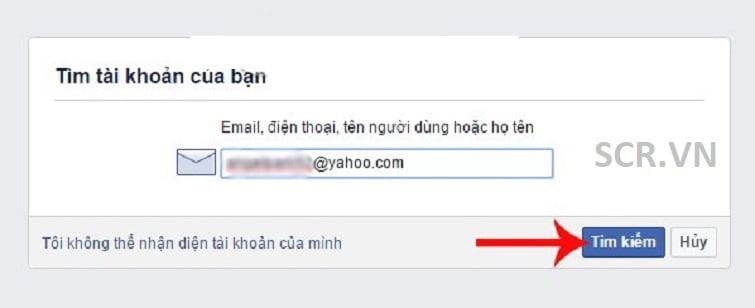 các bạn nhập vào email hoặc số điện thoại tài khoản Facebook mà bạn muốn lấy lại mật khẩu