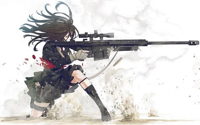 Ảnh con gái cầm súng ngàu
