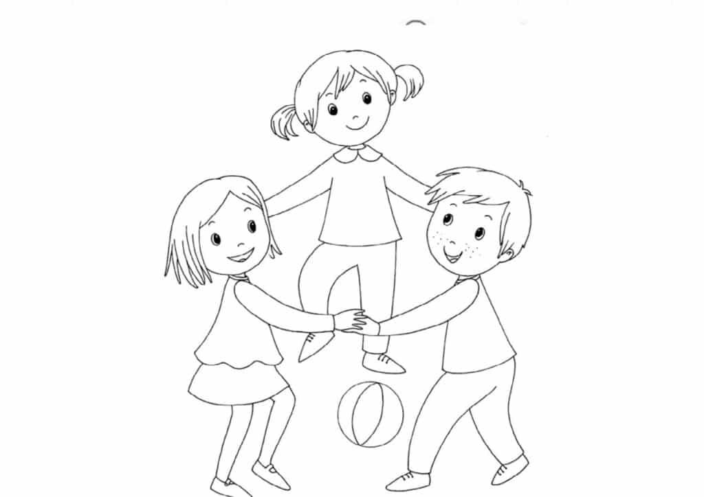 Hình ảnh tô màu ngôi trường mầm non của bé dễ thương cho bé học tô màu