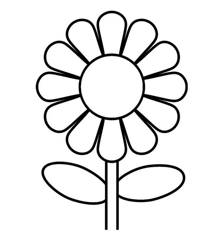 Bông hoa đơn giản cho bé tô màu
