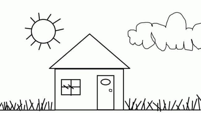 Bức hình ngôi nhà đơn giản cho bé tô