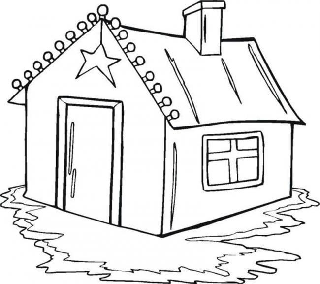 Bức hình tô màu ngôi nhà của bé