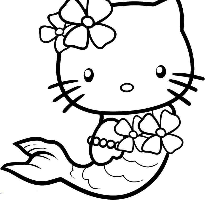 Hình ảnh mèo Hello Kitty nàng tiên cá