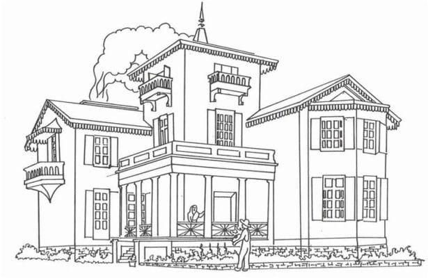 Hình ngôi nhà biệt thự tô màu