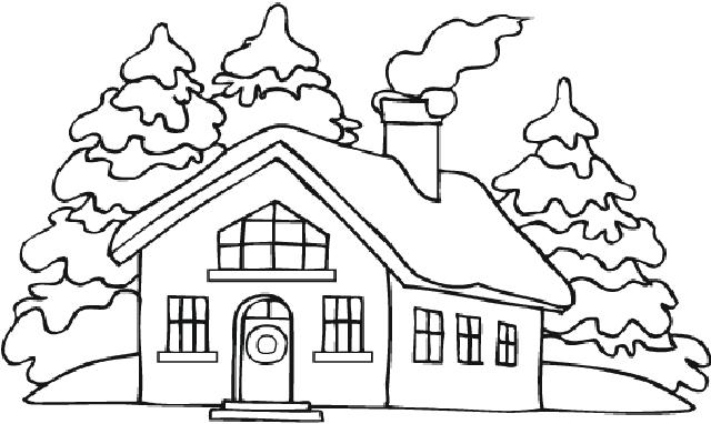 Hình ngôi nhà đẹp cho bé tô màu