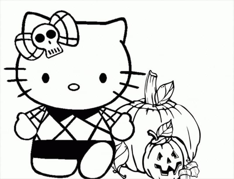 Hình tô màu Hello Kitty cute