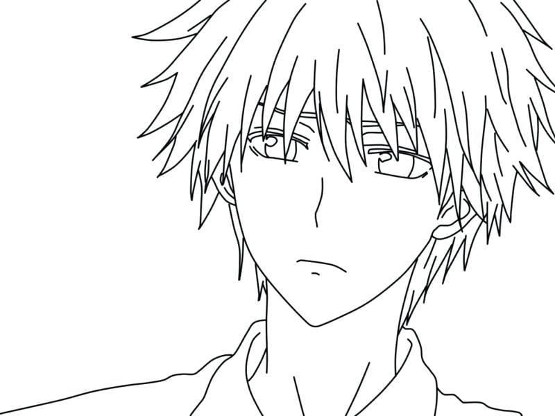 Hình tô màu boy Anime