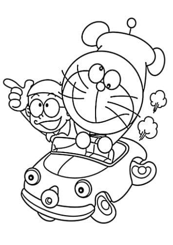 Mẫu tranh tô màu Doremon và Nobita