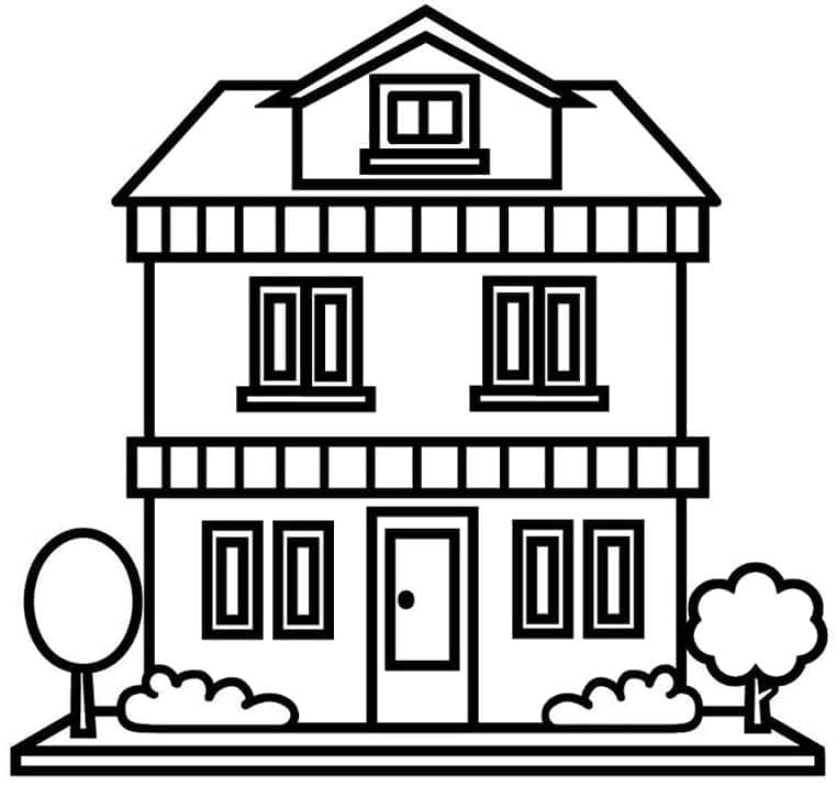 Ngôi nhà 2 tầng đẹp cho bé tô màu