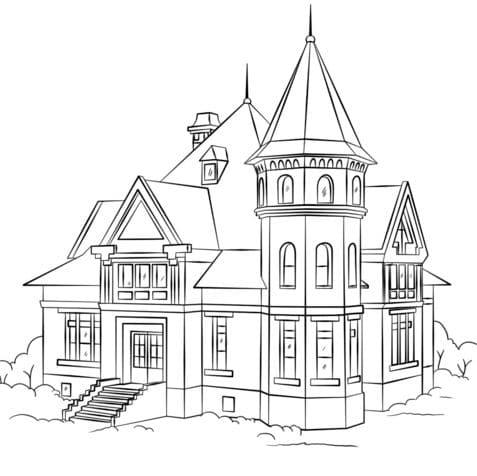 Ngôi nhà biệt thự cho bé tô màu