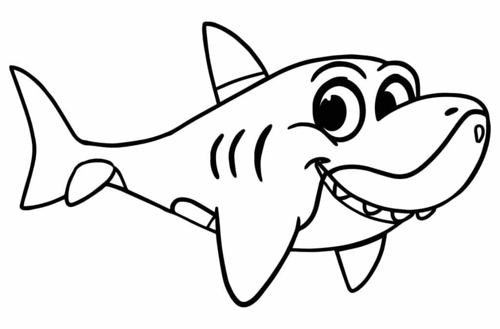 Tranh con cá mập cho bé tập tô đơn giản