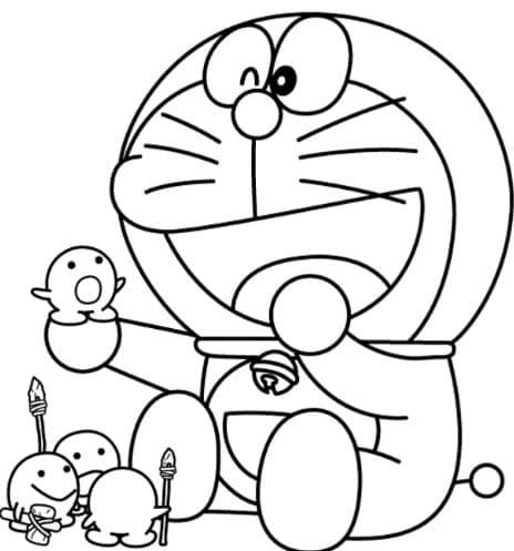 Tranh tô màu Doraemon cute