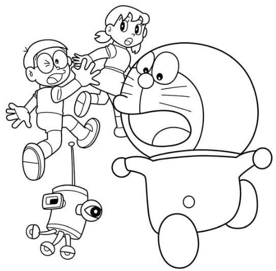 Tranh tô màu Doraemon và những người bạn