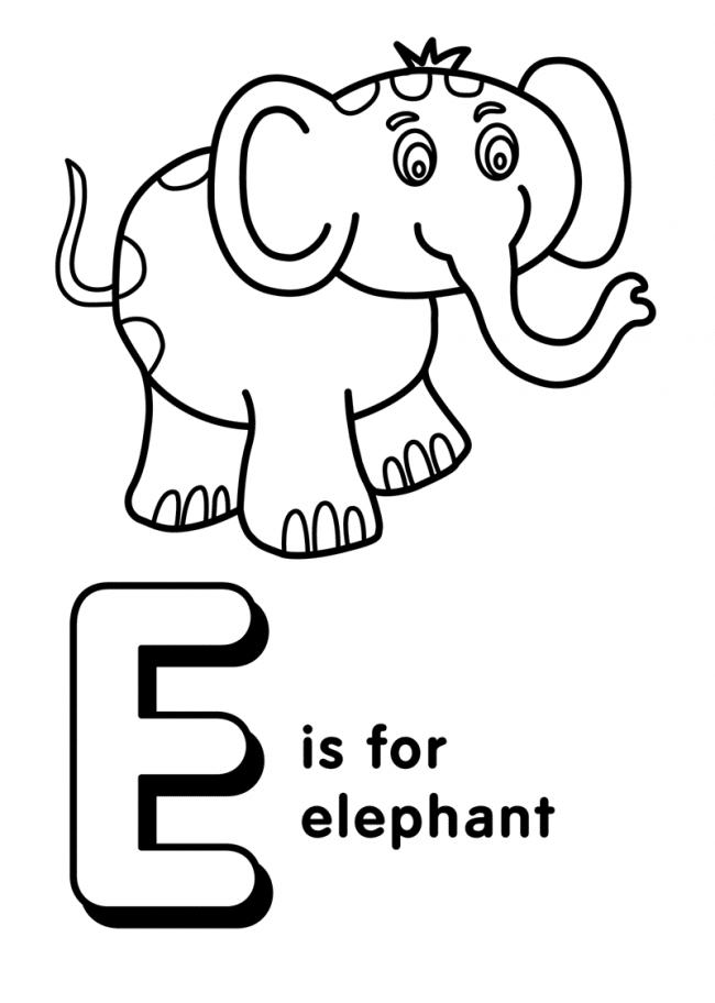 Tranh tô màu chữ E