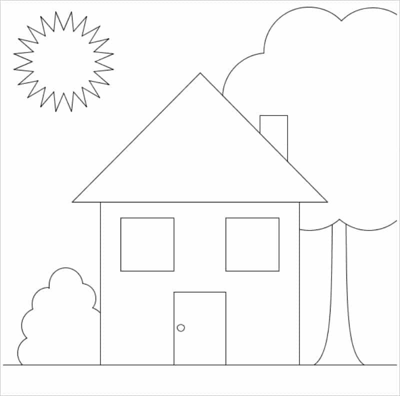 Tranh tô màu ngôi nhà đơn giản nhất