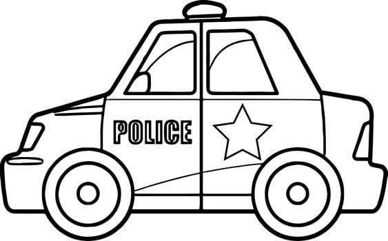 Xe cảnh sát tô màu cho bé